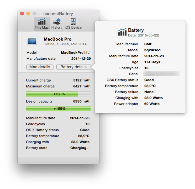 MacBook batterie details