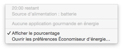 MacBook probleme batterie 20h restant