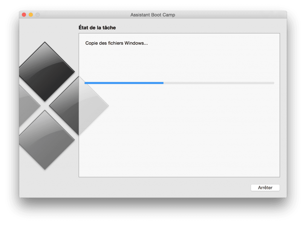 macbook dual boot copie windows en cours