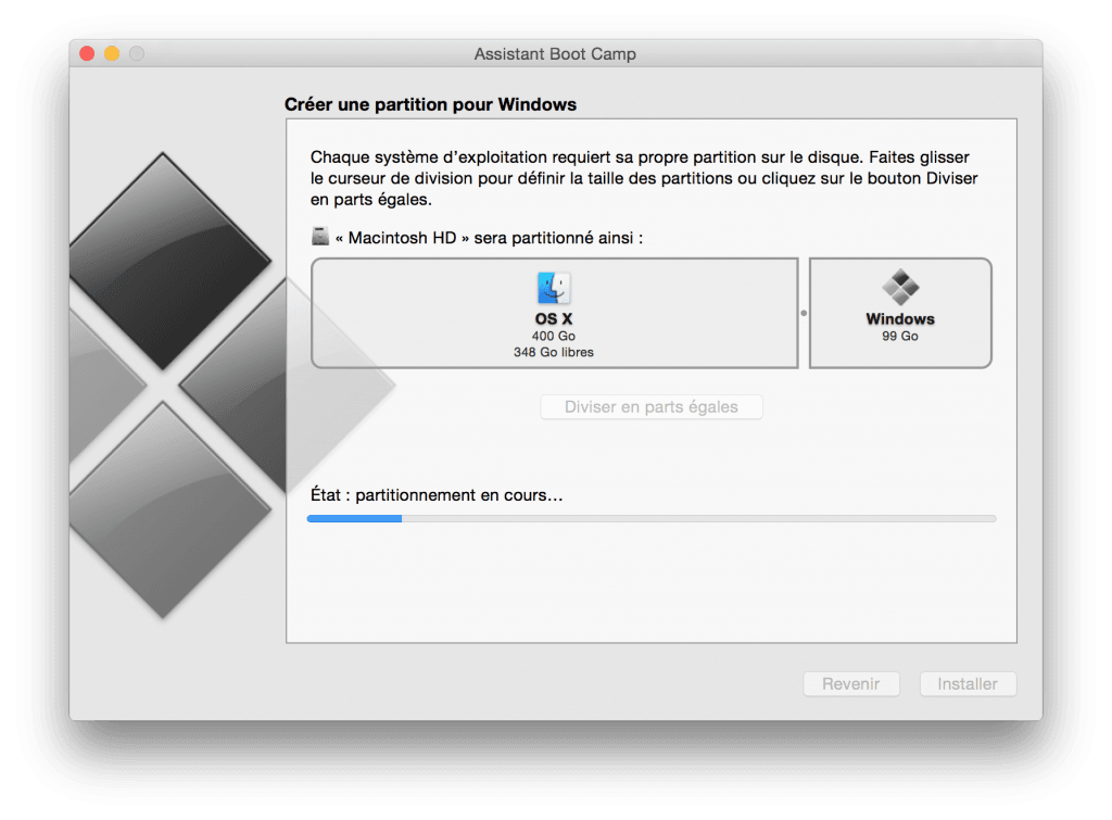 macbook dual boot creation taille partition
