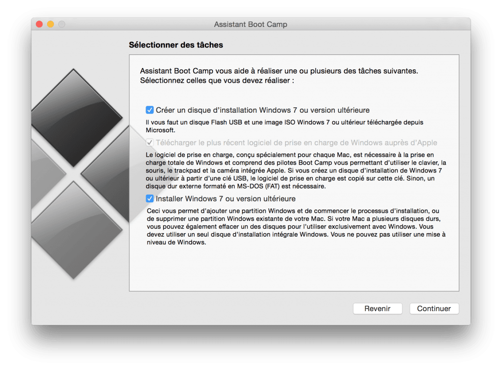 macbook dual boot selectionner taches