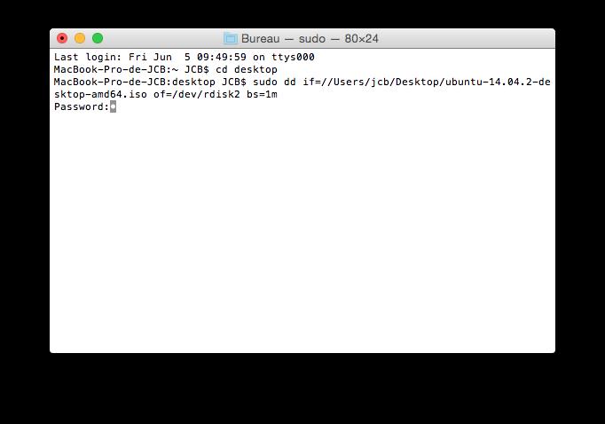 MacBook triple boot copie ubuntu sur cle usb bootable