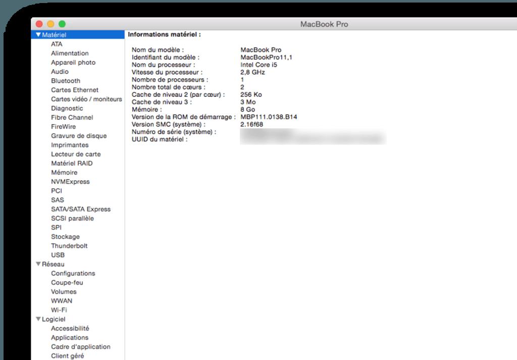 macbook firmware informations materiels