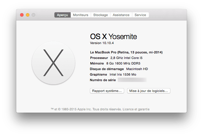 macbook pro rapport systeme