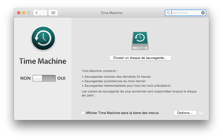 time machine configurer