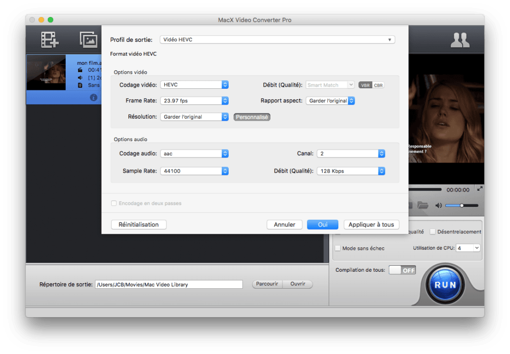 hevc options audio et video