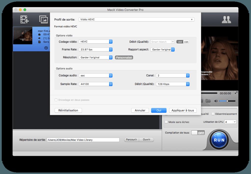 hevc options audio et video