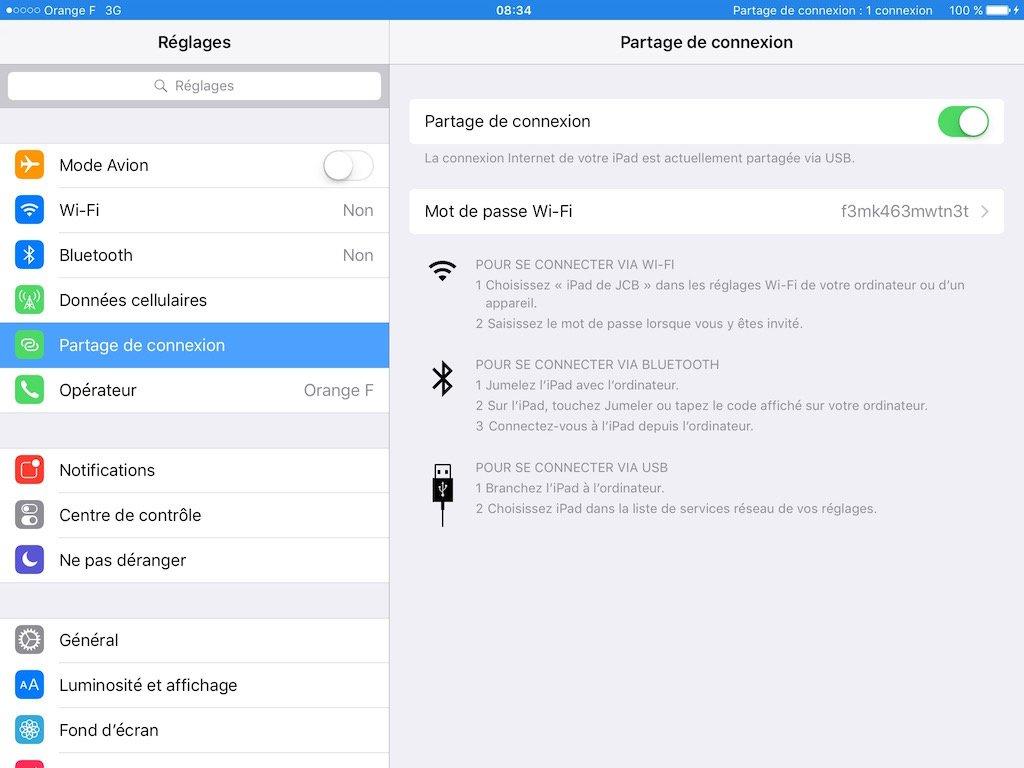 Partage de connexion Internet iPhone 1 connexion