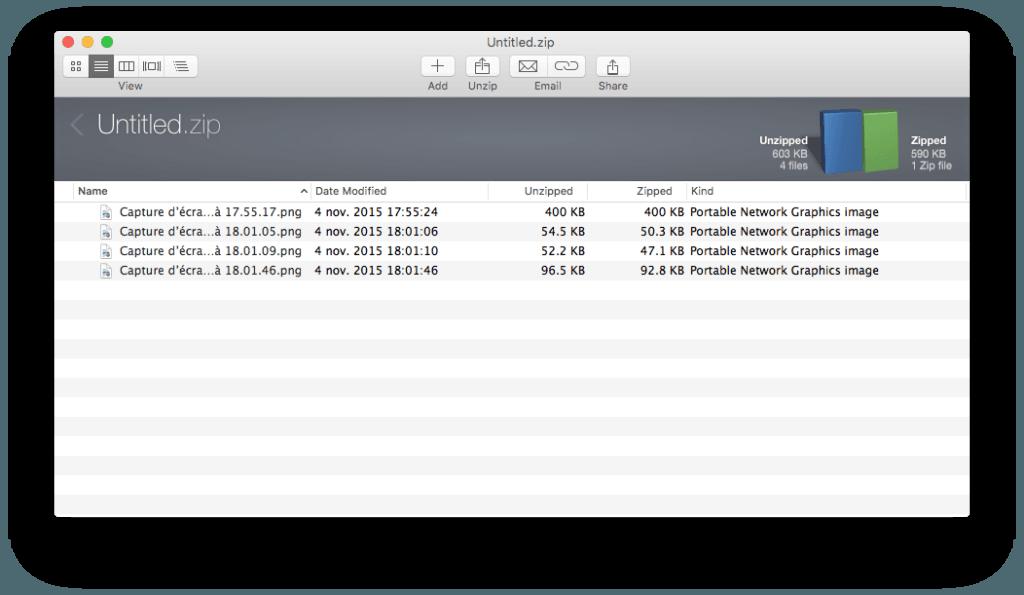 decompresser les zip sur mac envoyer par mail