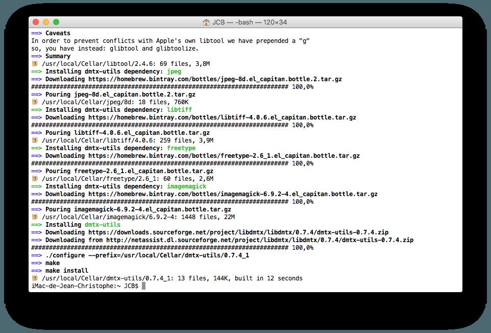 QR Code sur Mac dmtx utils