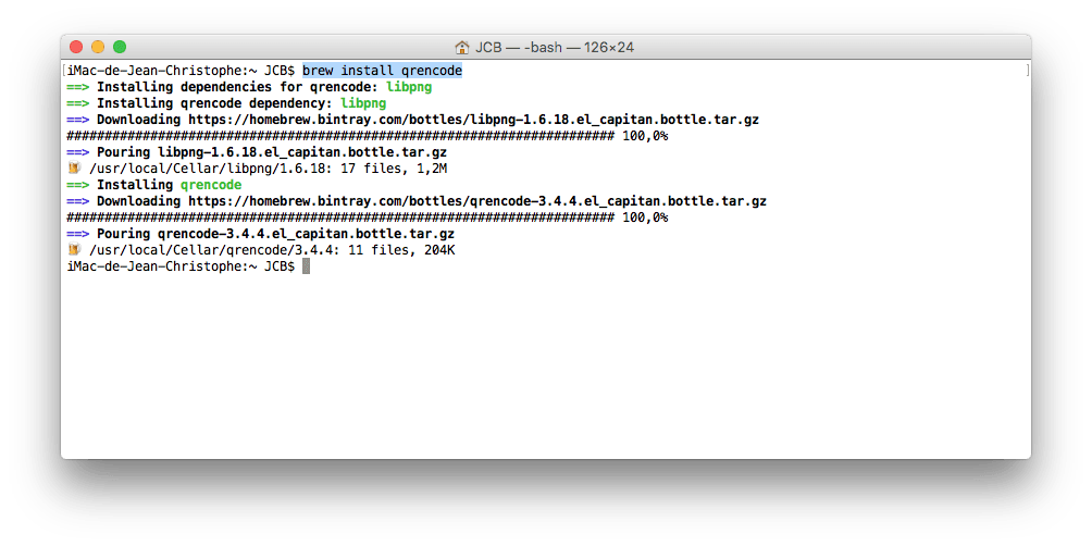 QR Code sur Mac qrencode