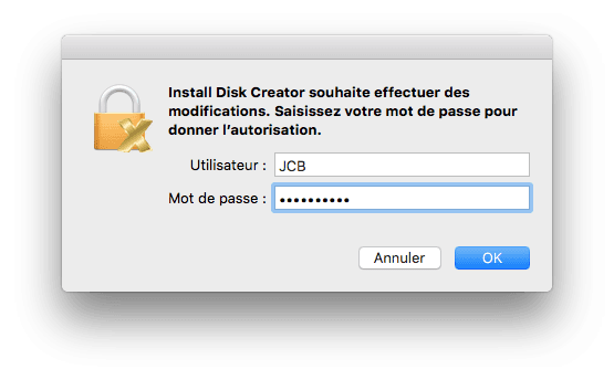 cle usb bootable mac mot de passe