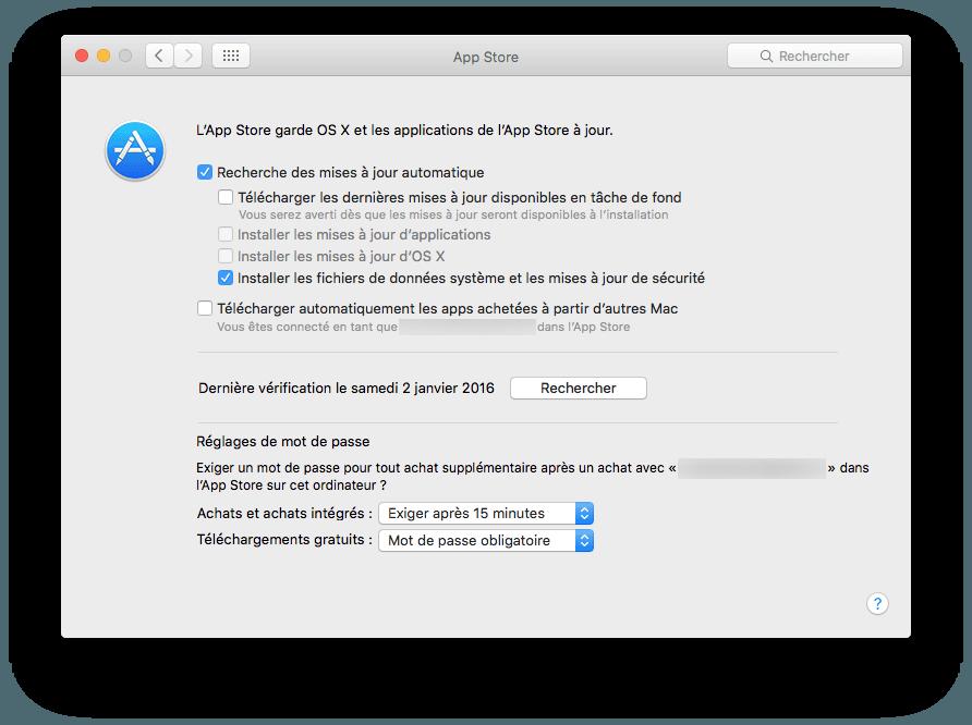 mac app store configuration securite uniquement