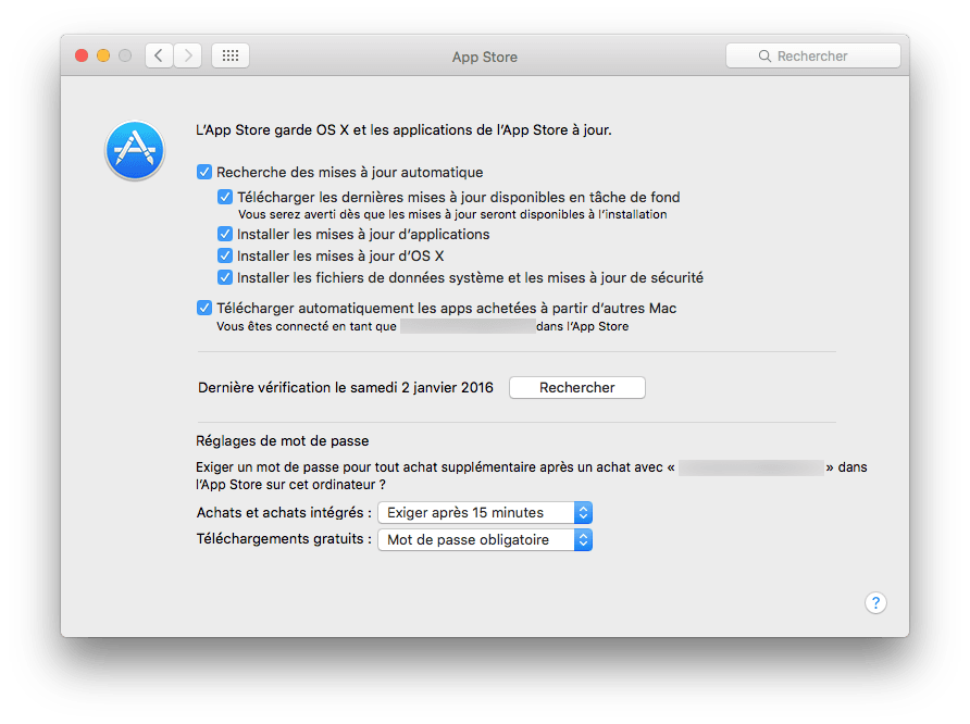 mac app store reglage automatique