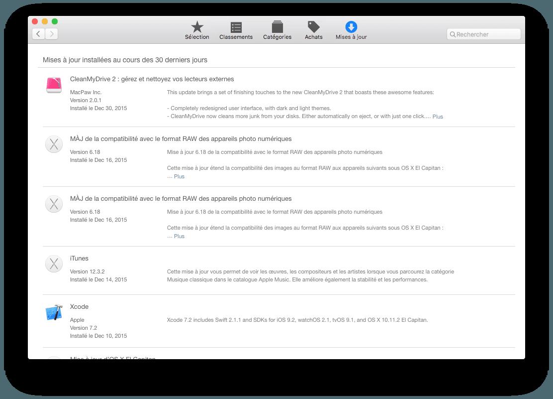 mac app store telechargement maj