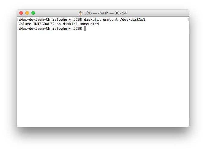 Ejecter un disque sur Mac terminal unmount