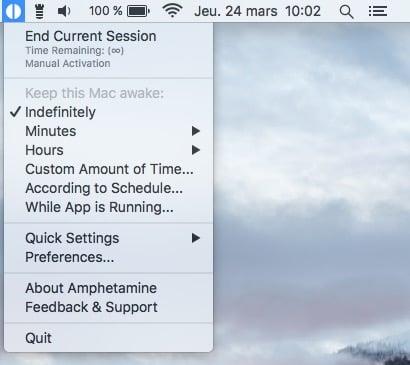 Desactiver la mise en veille d'un MacBook amphetamine