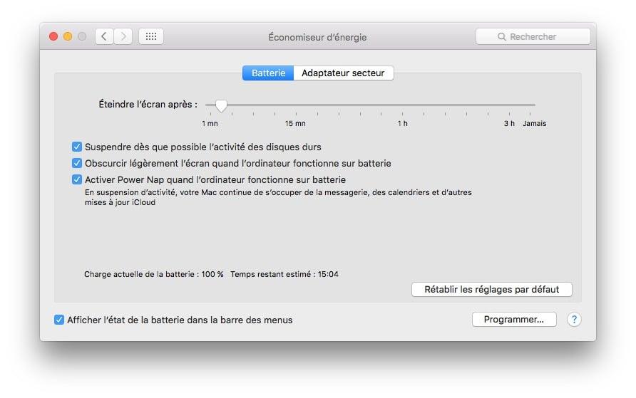 Desactiver la mise en veille d'un MacBook power nap