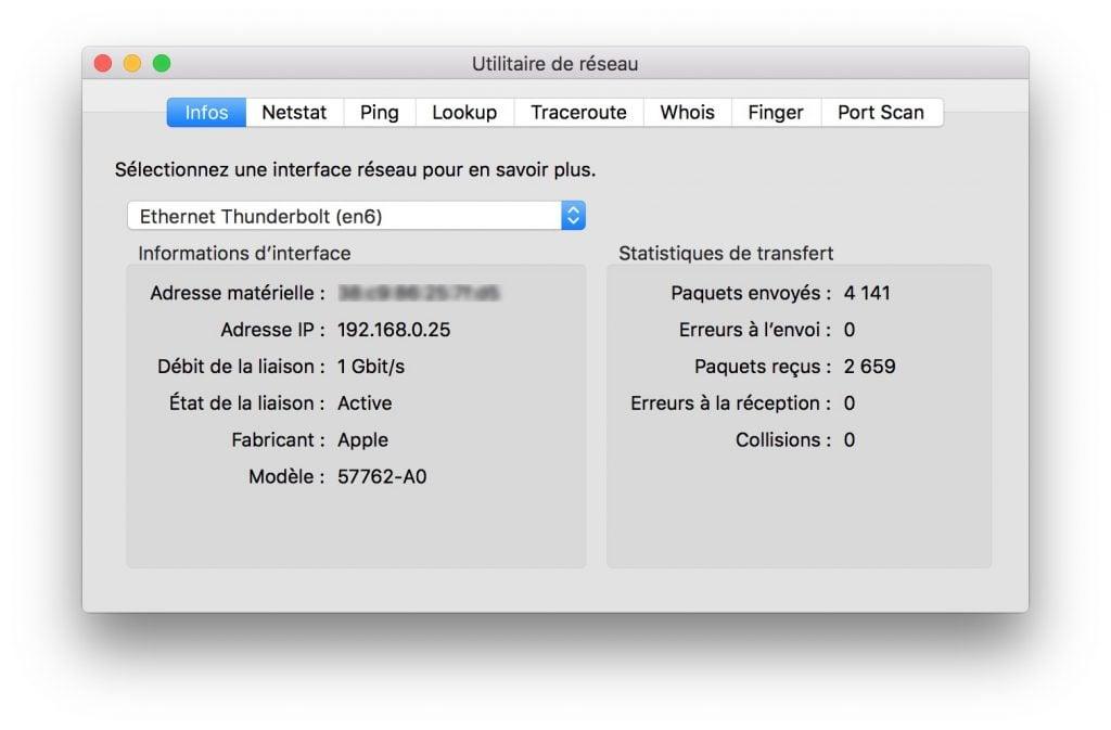 ajouter un port Ethernet au MacBook utilitaire de reseau thunderbolt