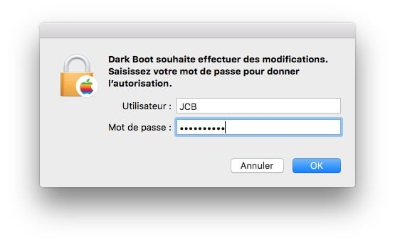 changer la couleur du boot mac mot de passe admin