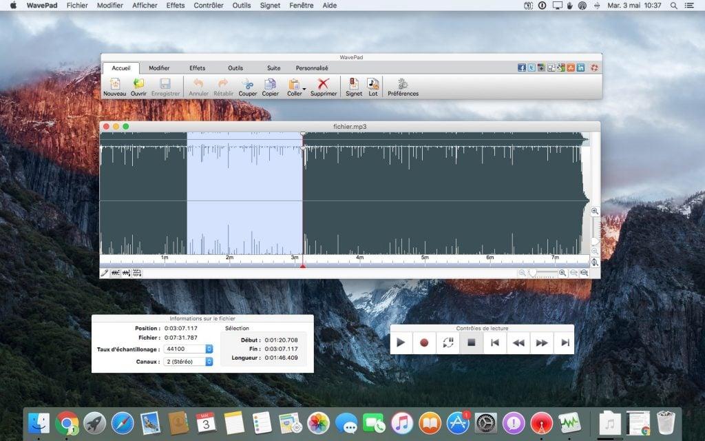 modifier un fichier audio sur mac avec wavepad
