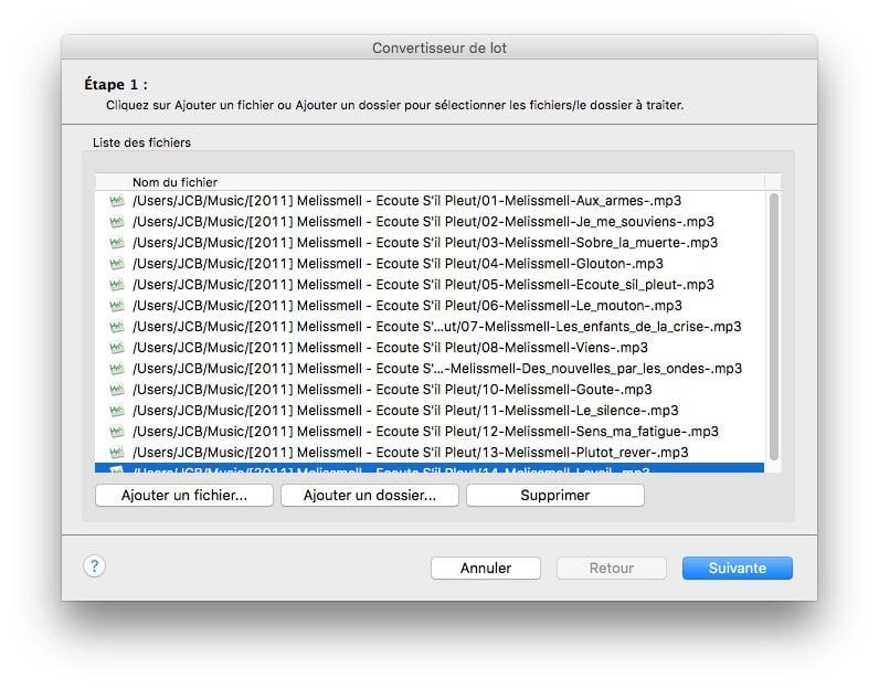 modifier un fichier audio sur mac conversion par lot