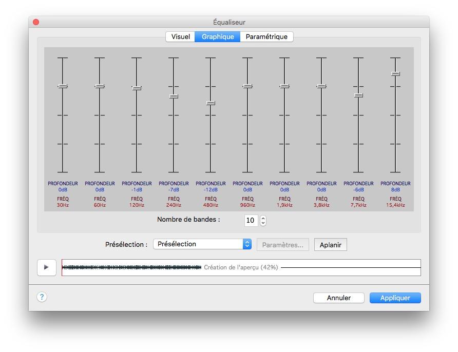 modifier un fichier audio sur mac egaliseur