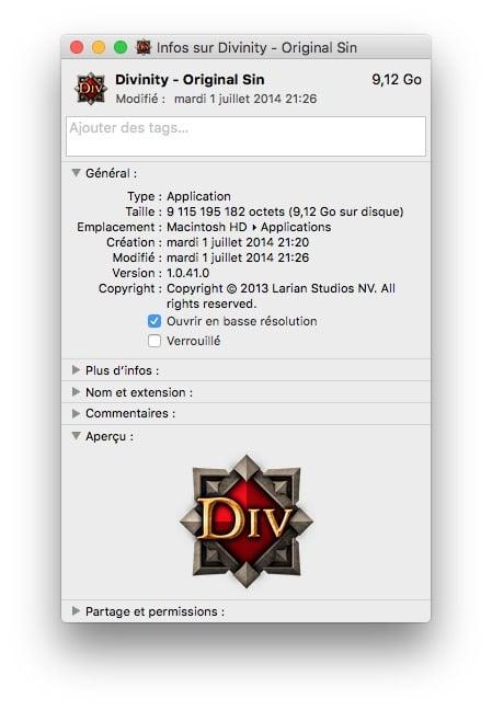optimiser un jeu sur mac basse resolution