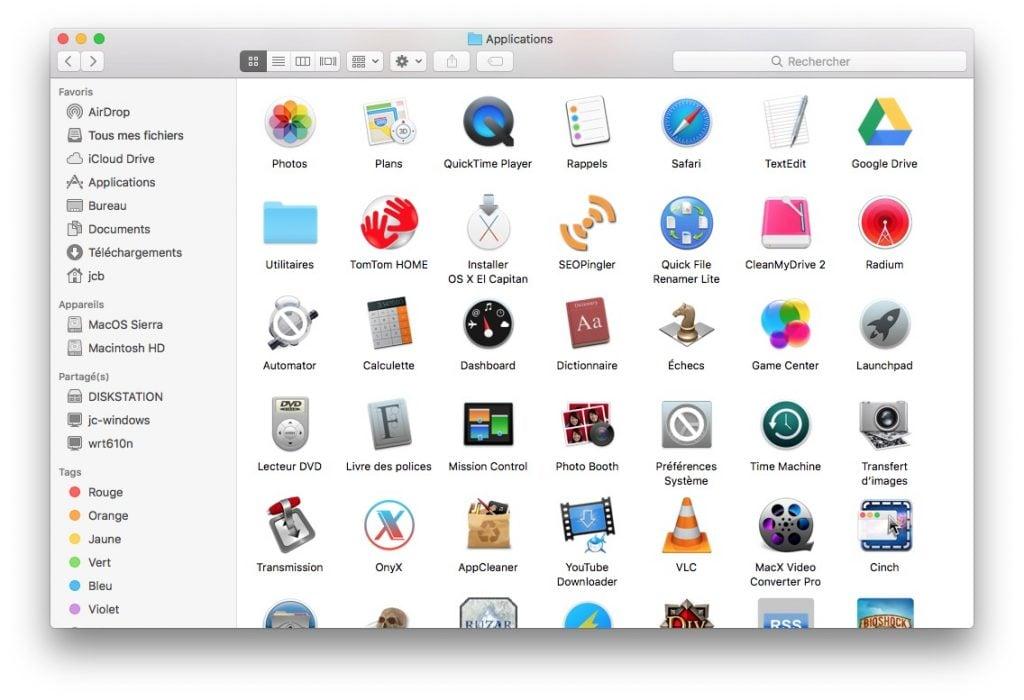 MacOS Sierra finder apps compatibles