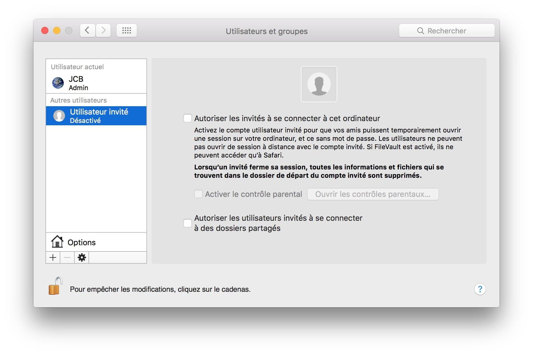 compte invite mac desactiver