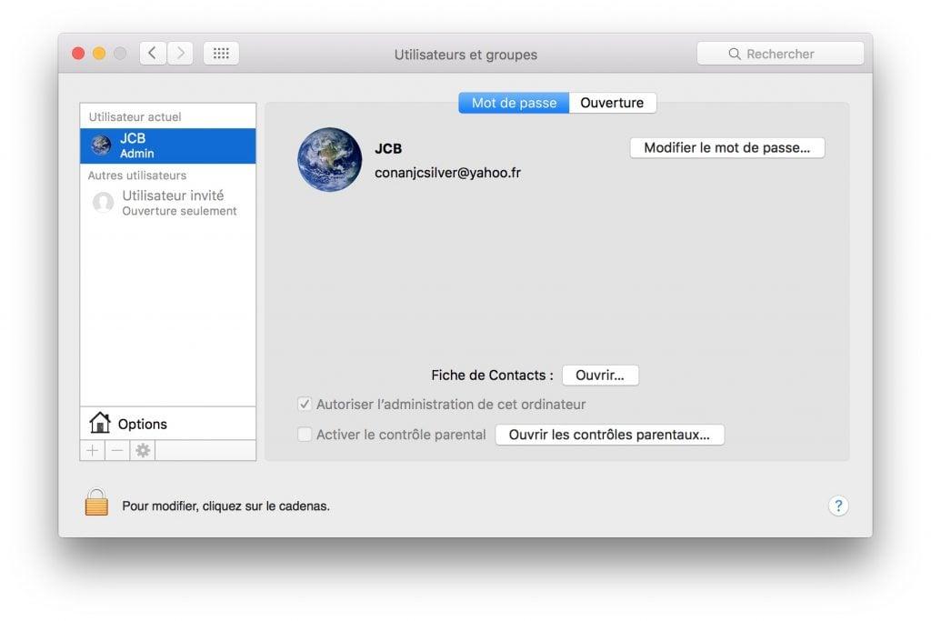 compte invite mac modifier