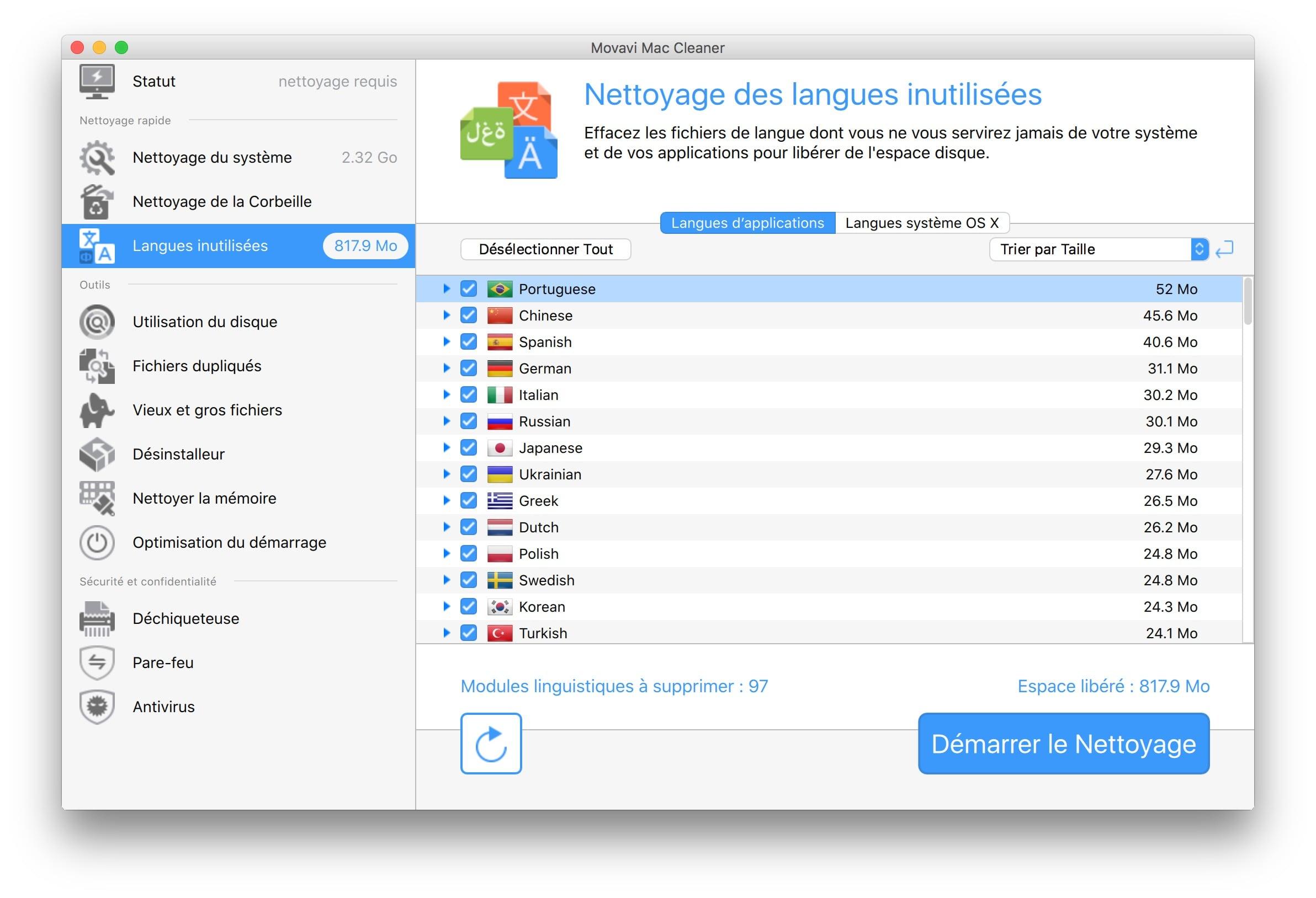 optimisation macbook nettoyage langues inutilisees