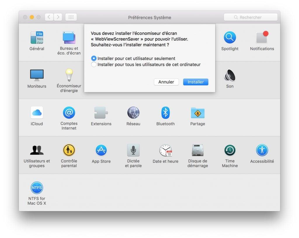 utiliser un site web en ecran de veille sur mac preferences systeme