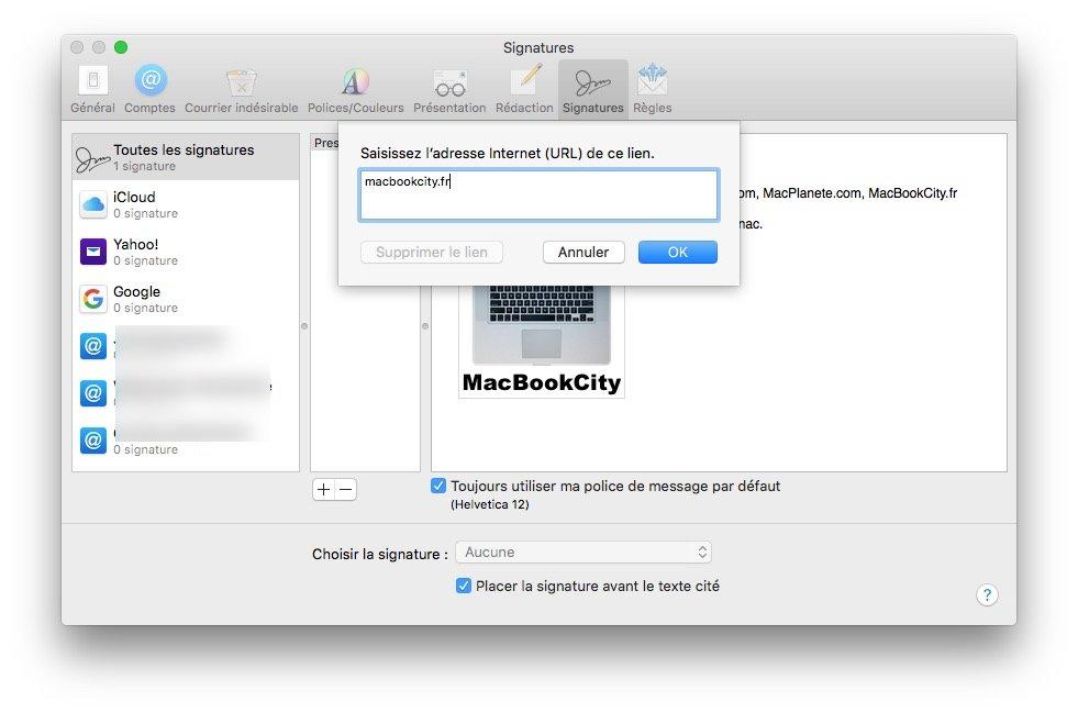 Ajouter un logo sur sa signature Apple Mail ajouter lien url