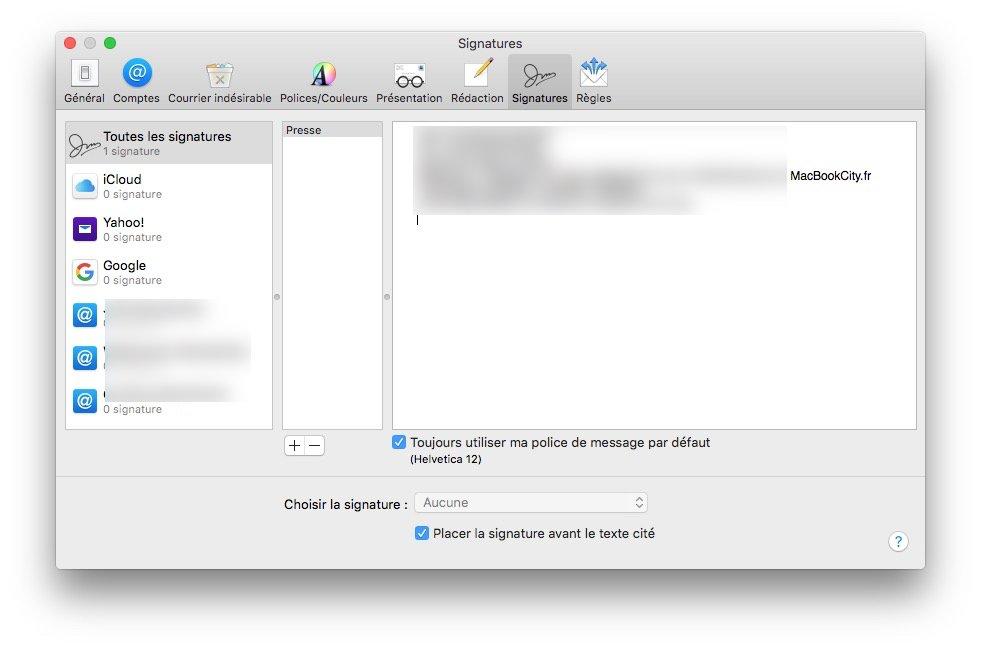 Ajouter un logo sur sa signature Apple Mail ouvrir signatures