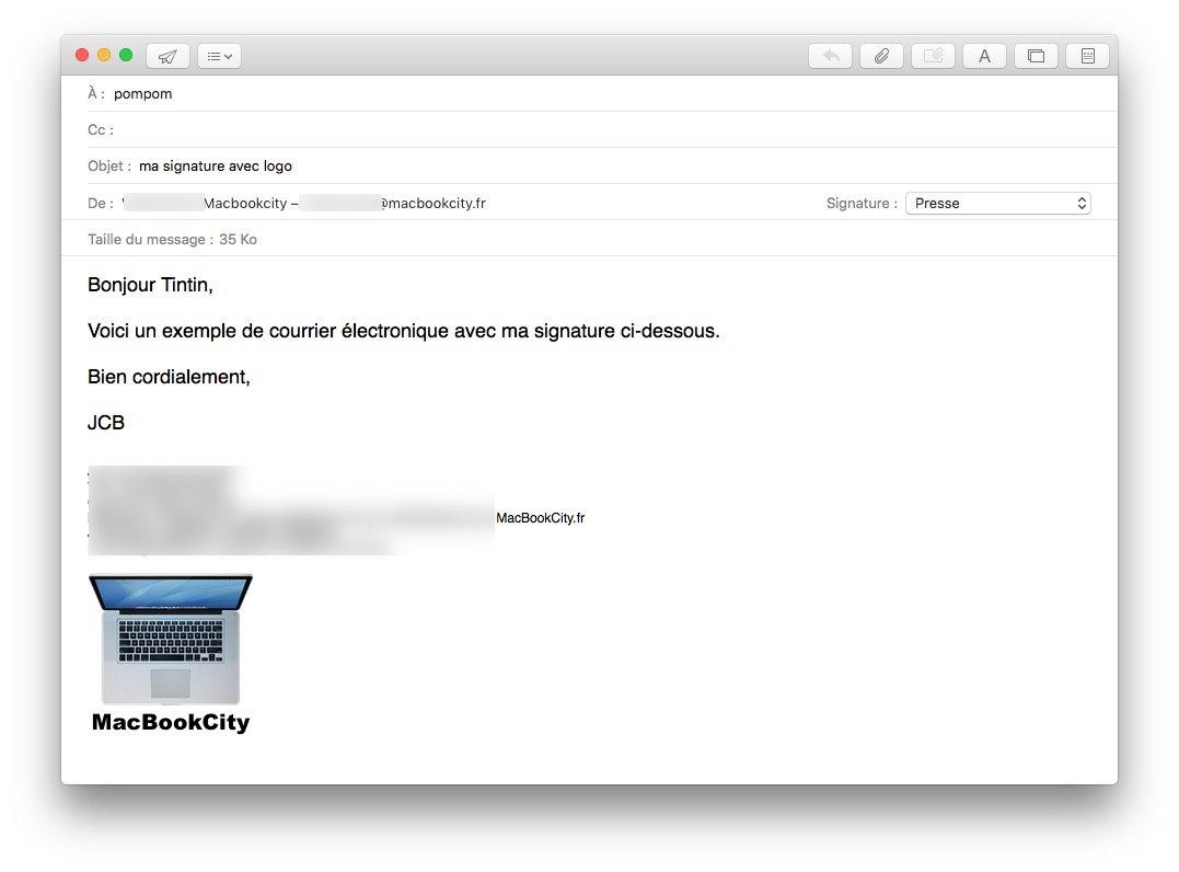 Ajouter un logo sur sa signature Apple Mail tester