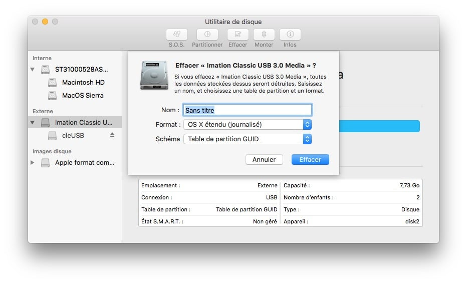 cle USB bootable macOS Sierra formatage os x etendu