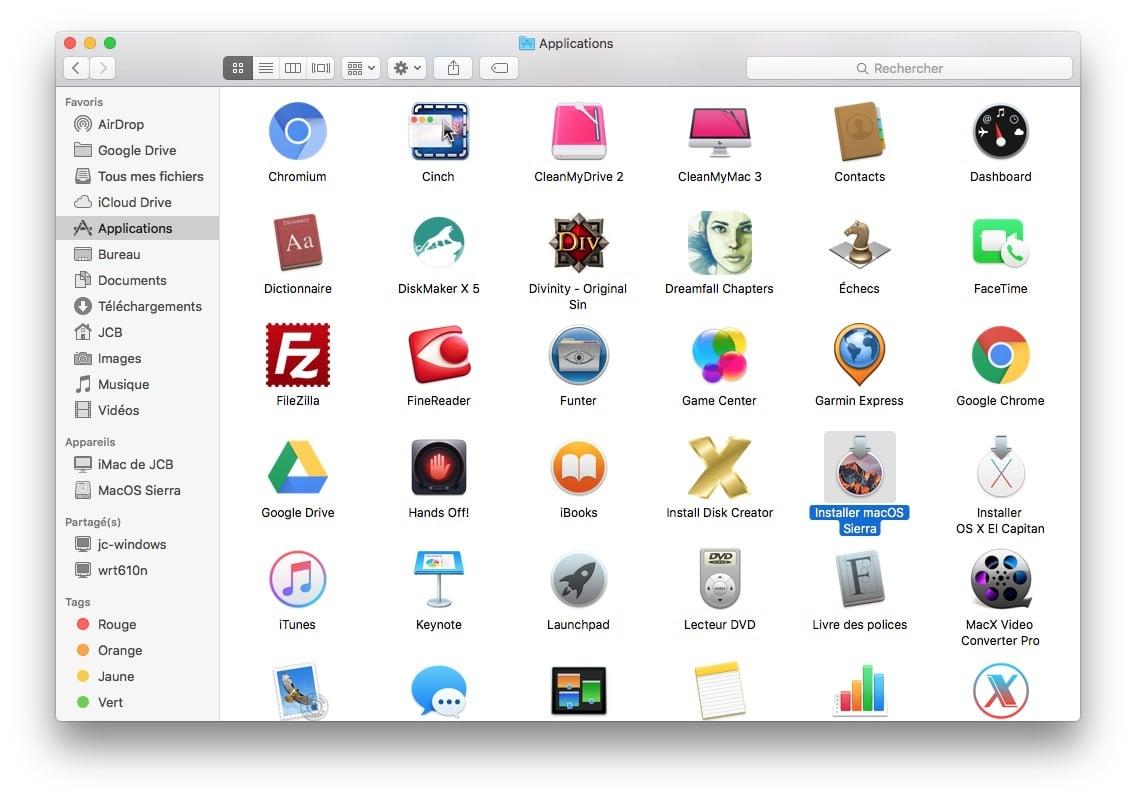 cle USB bootable macOS Sierra installation