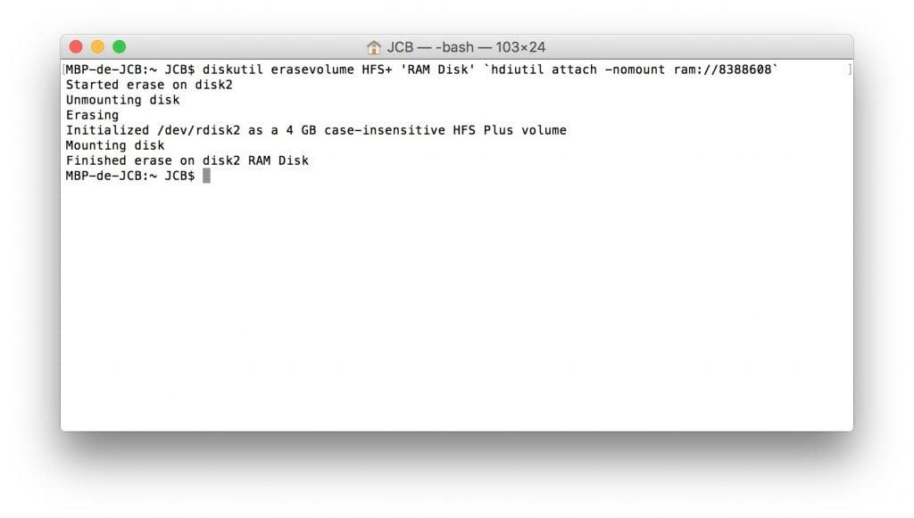 RAM Disk sur mac creation terminal