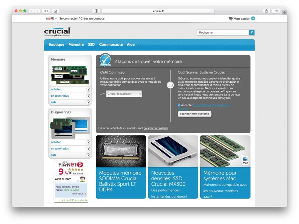 Identifier le fabricant de la RAM de son Mac crucial