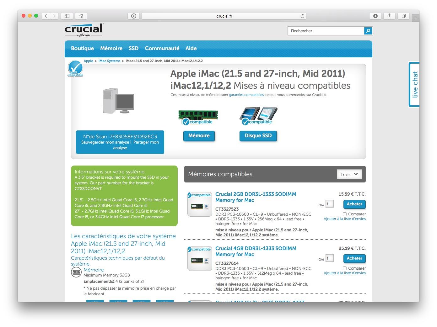 Identifier le fabricant de la RAM de son Mac memoire vive compatibles