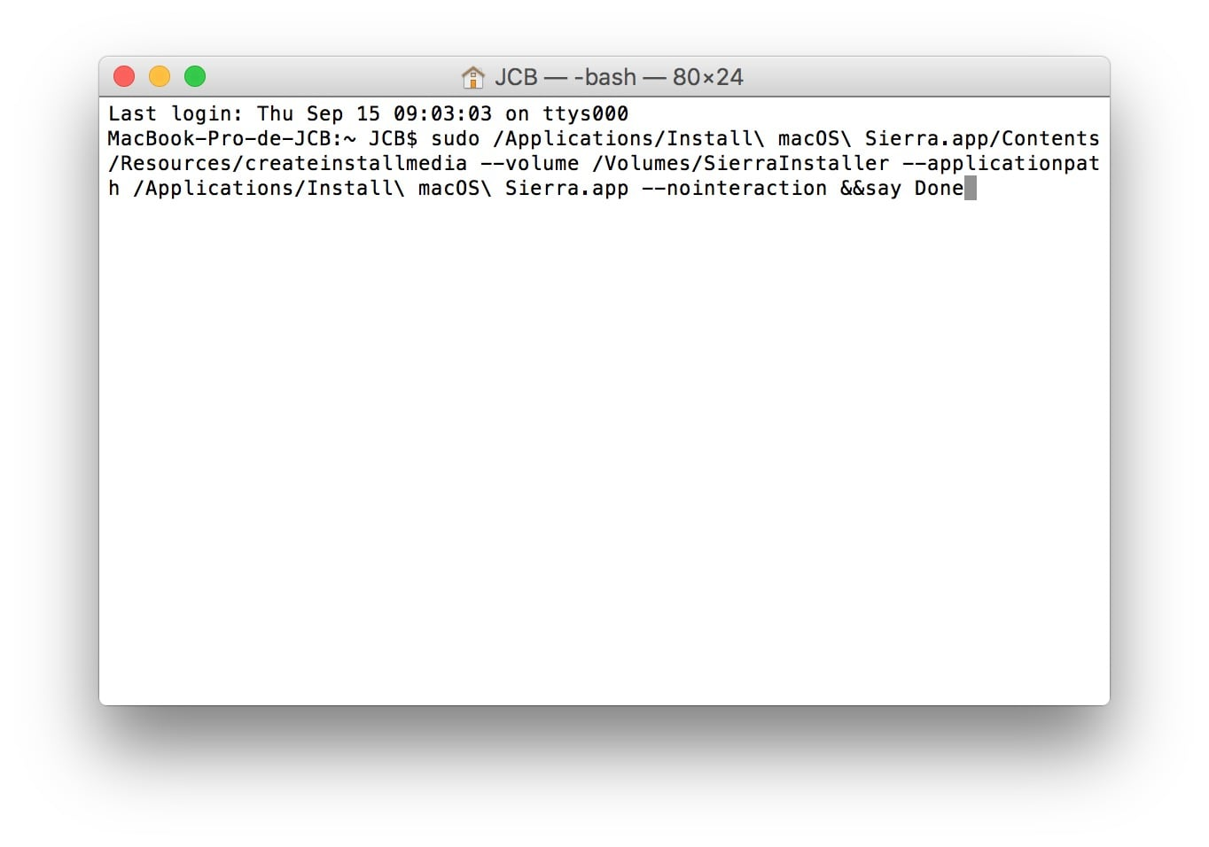 Installer macOS Sierra sur macbook cle usb bootable