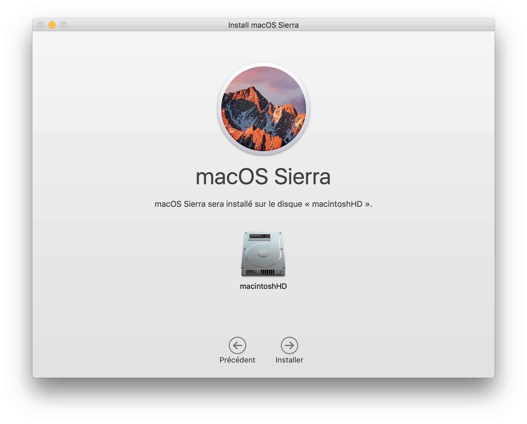Installer macOS Sierra sur macbook partition