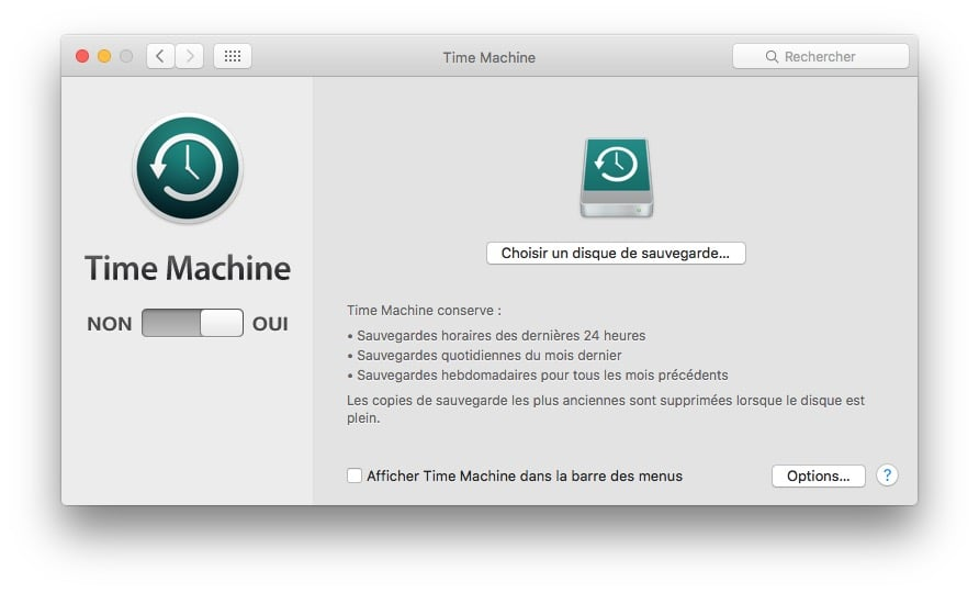 Installer macOS Sierra sur macbook time machine