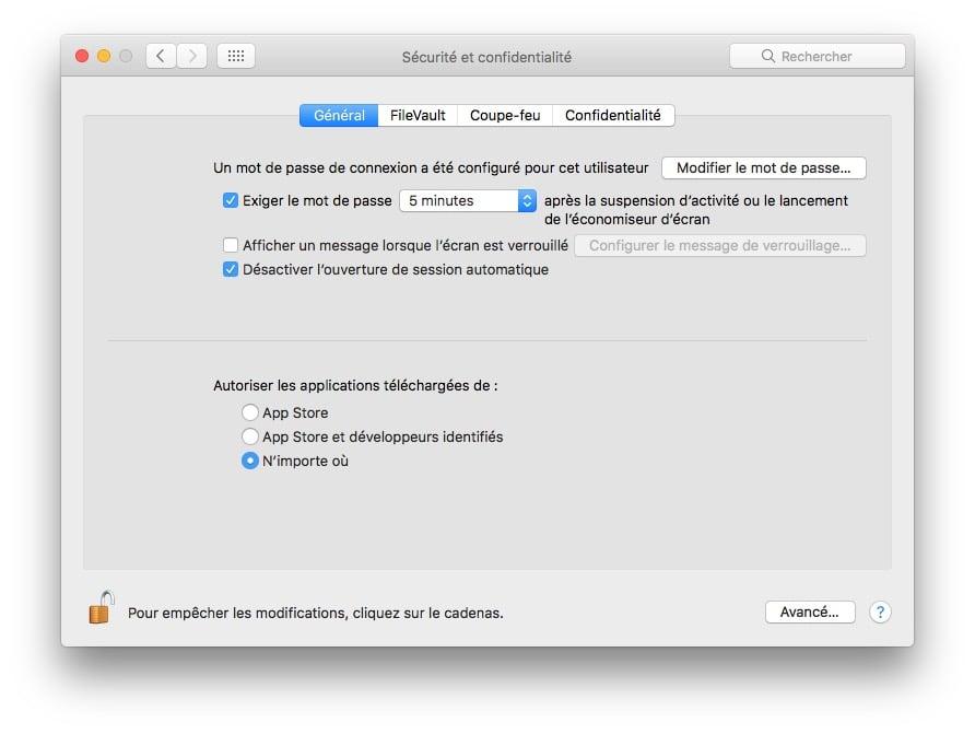 Ouvrir les Apps non identifiees sur macOS Sierra option developpeurs identifies