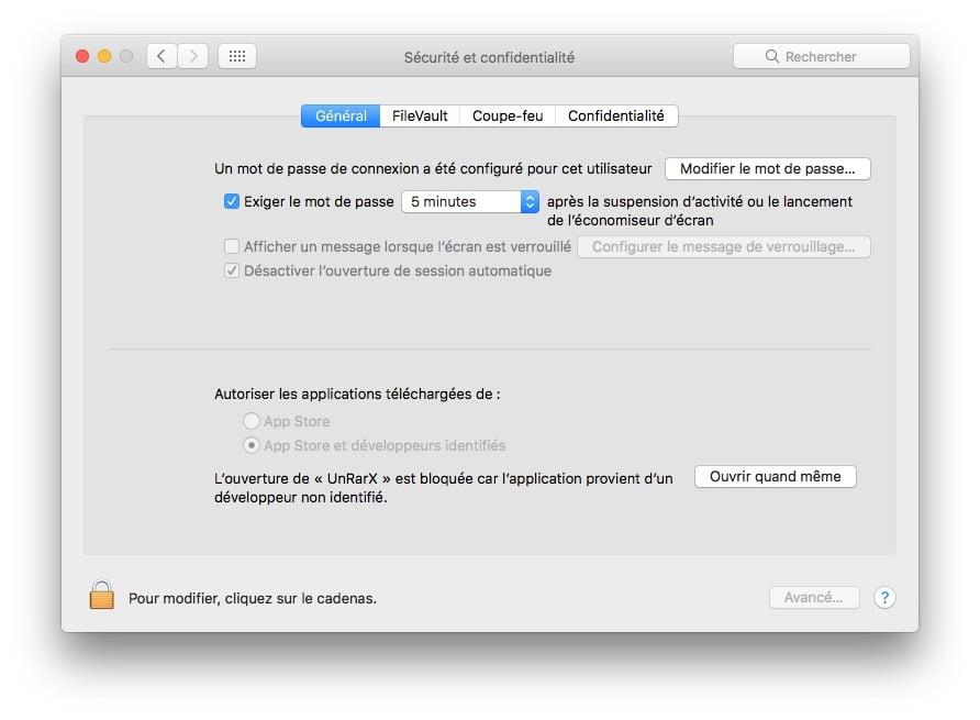 Ouvrir les Apps non identifiees sur macOS Sierra securite et confidentialite