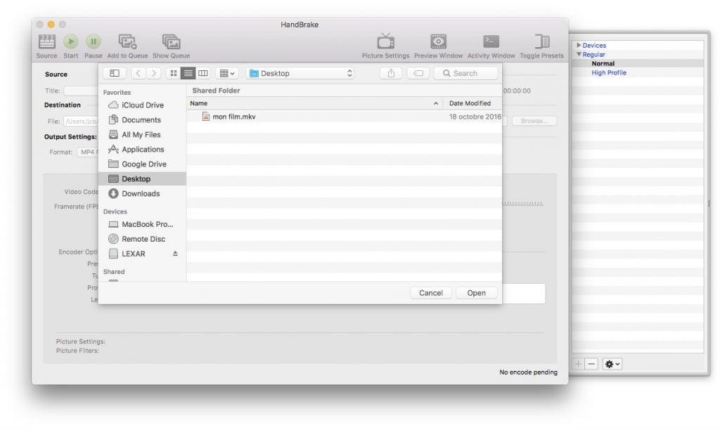 Convertir une video sur macOS Sierra handbrake