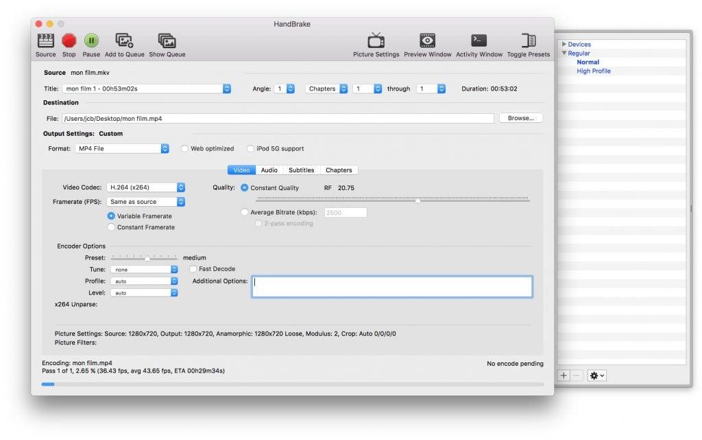 Convertir une video sur macOS Sierra handbrake mp4