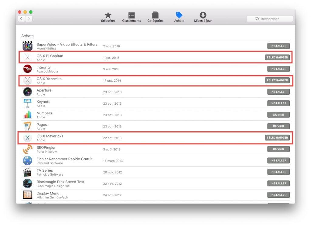 Trouver les anciens Mac OS X gratuits