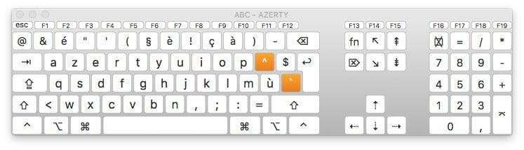 clavier virtuel macOS Sierra affichage